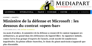 Partial screenshot of the Mediapart article