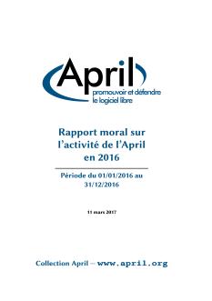 Page de couverture du rapport d'activité 2016