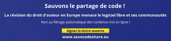 Bannière sauvons le partage de code