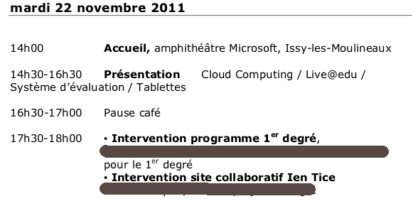 Extract of the program