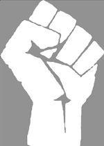 A racist version of the raised fist