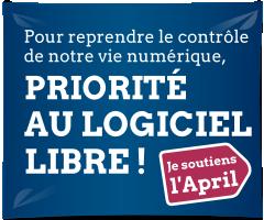 Bannière de soutien pour la campagne d'adhésion de l'April