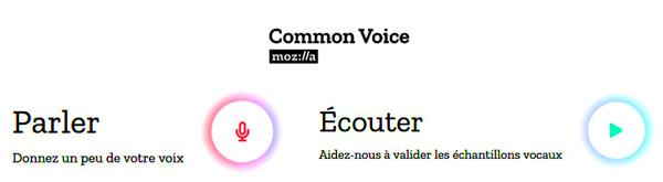 Page d'accueil du site Common Voice
